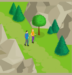 colorful isometric hiking template vector image