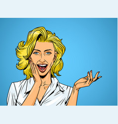 comic surprised pretty girl vector image