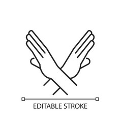 Crossed arms stop gesture linear icon vector