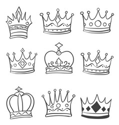 Crown style various doodle hand draw vector