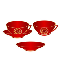 Cup part of red porcelain gold ornament heart vector