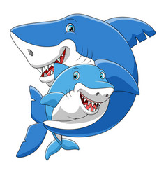 cute cartoon family shark playing together vector image