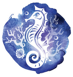Decorative seahorse on watercolor texture vector