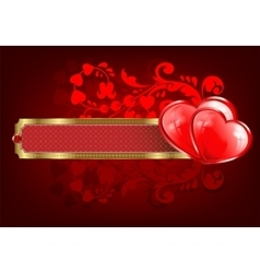 Design with a rectangular frame and two hearts vector