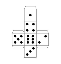 Dice paper template craft model for games vector