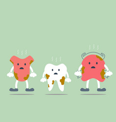 Dirty tooth tongue and teeth retainer vector