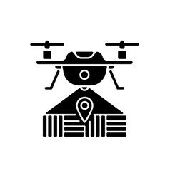 Drone mapping black glyph icon vector