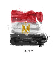 egypt flag watercolor painting design country vector image