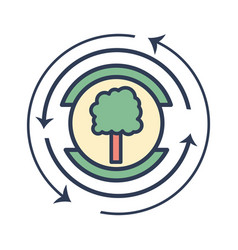 Emblem of tree symbol to ecology care vector