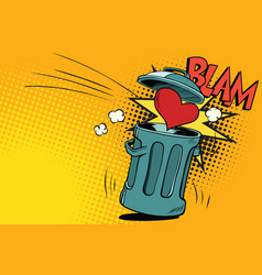 end of love heart thrown in the trash vector image