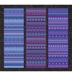 Ethnic various strip set motifs in violet colors vector