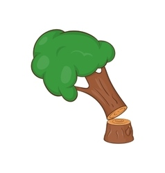 Felled tree icon cartoon style vector
