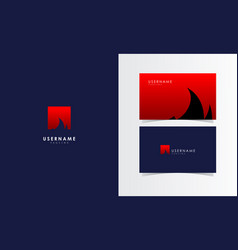 fire flame square logo mark with business card vector image