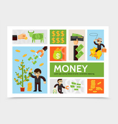 Flat cash and currency infographic template vector