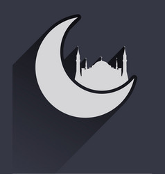 Flat islamic icon with mosque and moon vector