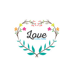 floral love frame simple wedding wreath hand vector image