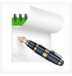 Fountain pen and notebook vector image