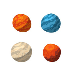four vibrant colorful planets shadows and lights vector image