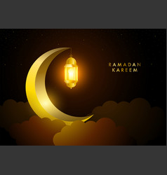 golden crescent moon and lantern for islamic vector image