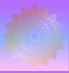 Golden mandala design on pastel gradient vector