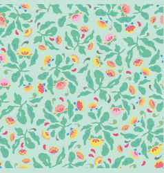 green folk art floral pattern vector image