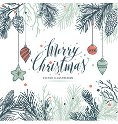 greeting card mery christmas with pine and vector image