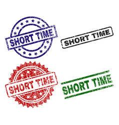 Grunge textured short time stamp seals vector
