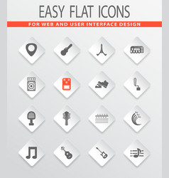 guitar and accessories icons set vector image