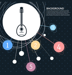 guitar music instrument icon with the background vector image