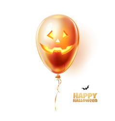 halloween balloon with scary spooky face vector image