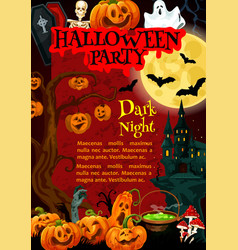 Halloween party poster of october holiday monsters vector