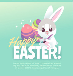 happy easter bunny poster cute white rabbit with vector image