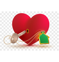 house is key to heart of your beloved red heart vector image