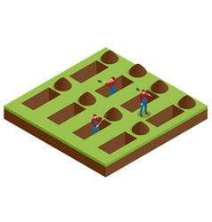 isometric men digging holes in a cemetery a man vector image