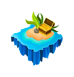 Isometric sandy island surrounded by blue water vector