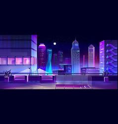Lounge area on city house roof cartoon vector