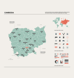 Map cambodia high detailed country vector