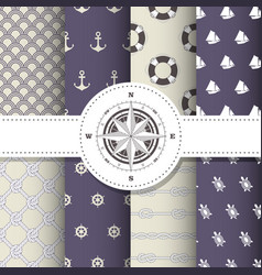 marine and nautical backgrounds - patterns vector image