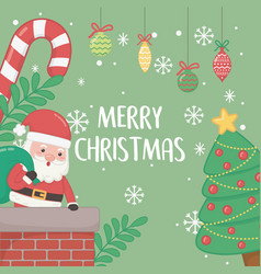 merry merry christmas card with santa claus in vector image