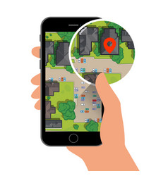 mobile gps navigation on phone with map vector image