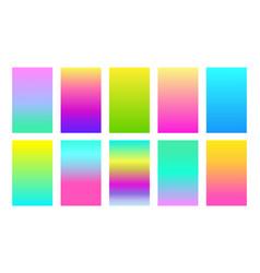 Neon color gradient background set vector