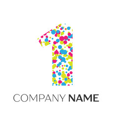Number one logo with blue yellow red particles vector