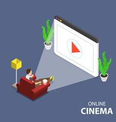 Online home movie theatre flat isometric vector