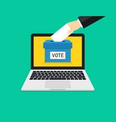 Online vote in laptop online poll in computer box vector