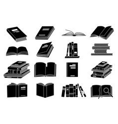 open books black silhouettes book reading icons vector image