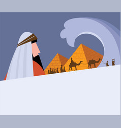 Passover card -moses looking at egypt hebrew vector