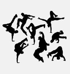 People breakdance silhouettes vector