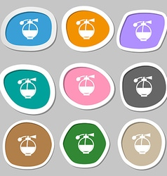 Perfume icon symbols Multicolored paper stickers vector