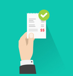 person holding success approved payment paper vector image
