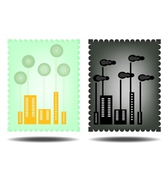Picture of green and black city vector